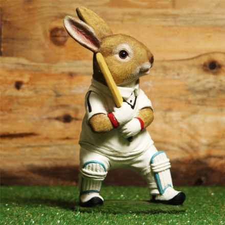 Large Sporting Animal Ornament ~ Cricket Playing Rabbit